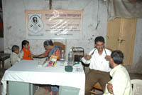 Volunteer doctors of the foundation conducting the medical check up of needy patients