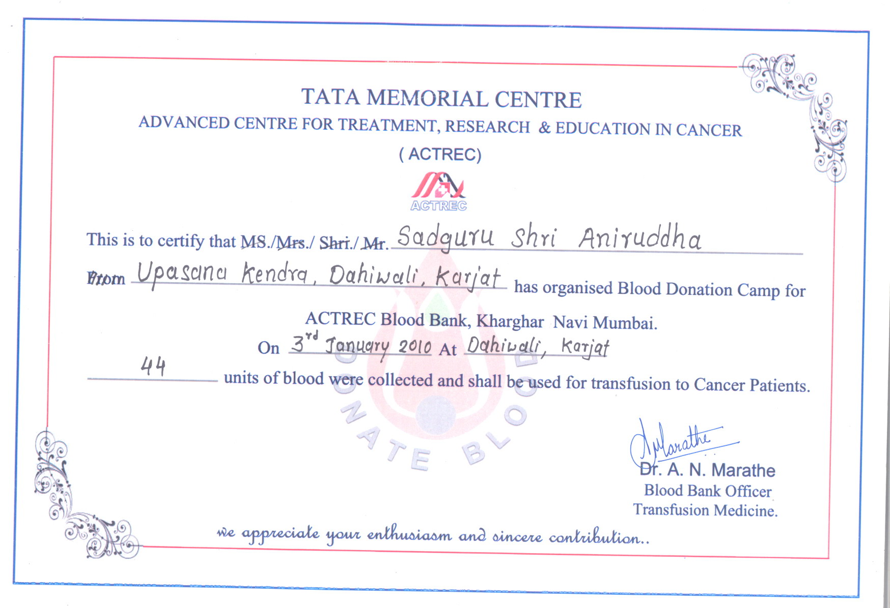 Appreciation letter blood donation camps shree aniruddha upasana appreciation letter from tata memorial hospital karjat 2010 for aniruddhafoundation compassion yadclub Gallery