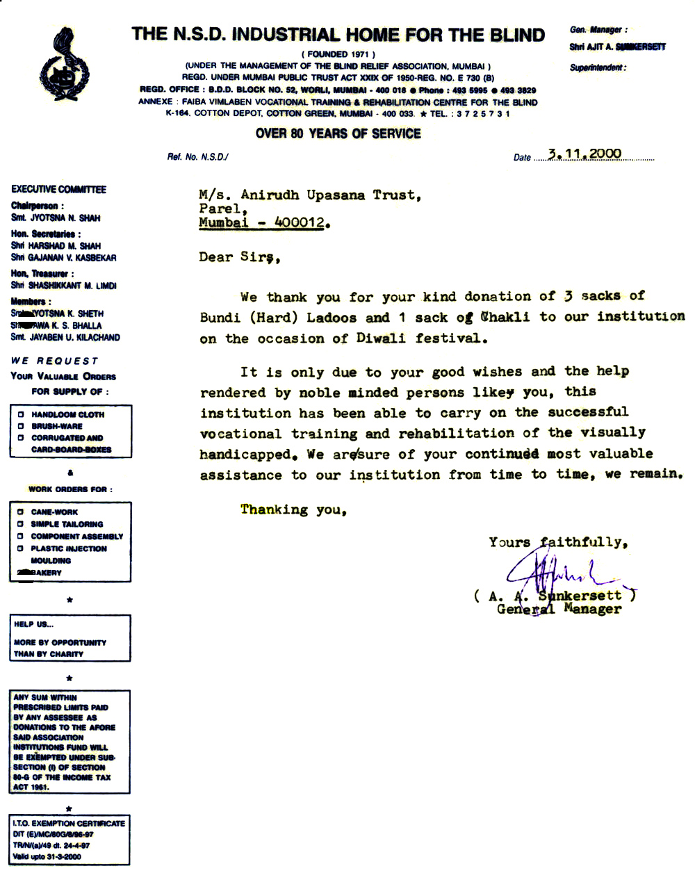 Appreciation-Letter from Vatsalya Trust Mumbai 2000-for-Aniruddhafoundation-Compassion-Social-servicesAppreciation-Letter from The NSD Home fror Blind 2000-for-Aniruddhafoundation-Compassion-Social-services