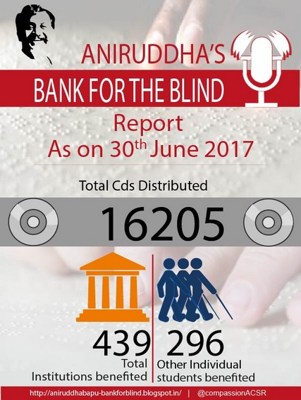 Aniruddha's Bank For The Blind-June 2017 CD Distribution