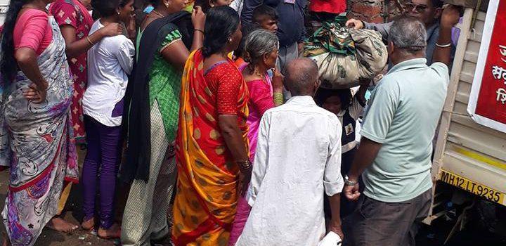 Distribution of old clothes at Shivaji nagar, Pune